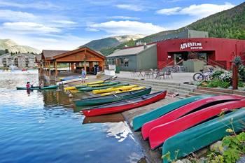 Canoes on the shore at SummitCove.