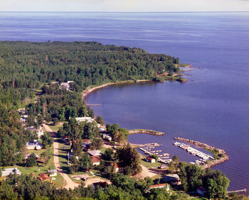 Aerial view of Long Point Resort.