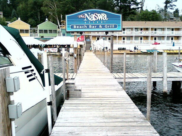 Exterior view from dock at Naswa Resort.
