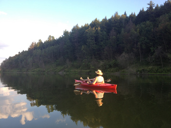 Canoeing at Sunapee Harbor Cottages.