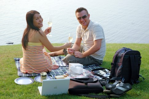 Enjoying a picnic at Woodloch Resort.