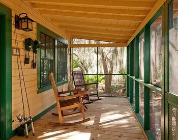 Michael Cottage front porch at Lodge on Little St. Simons Island.
