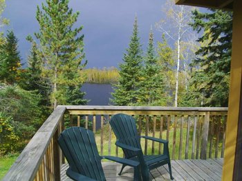 Cabin deck view at Northern Lights Lodge & Resort.