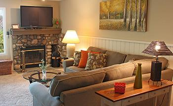 Condo living room at Trout Creek Condominium Resort.