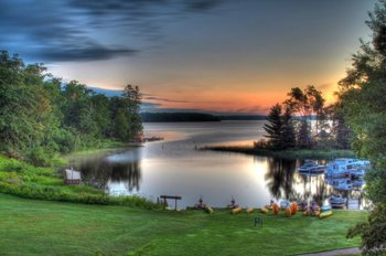 Scenic lake view at Lakewoods Resort.