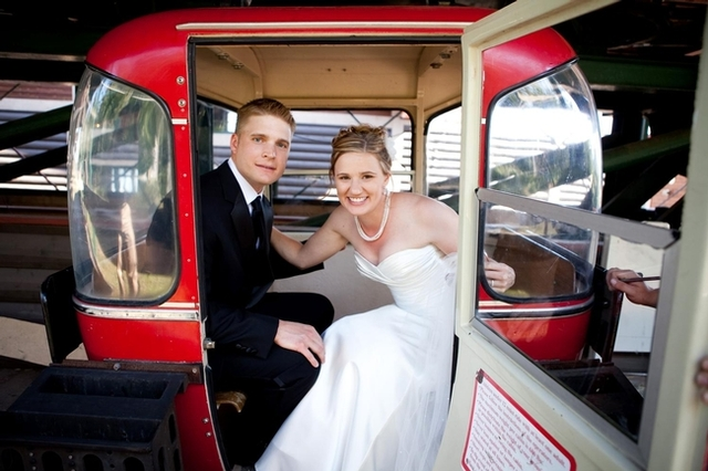 Wedding couple at Eagle Ridge at Lutsen Mountains.