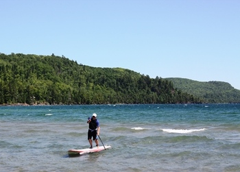 Paddle boarding at Inn on Lac Labelle.