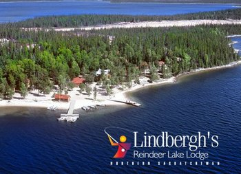 Aerial view of Lindbergh's Reindeer Lake Lodge.