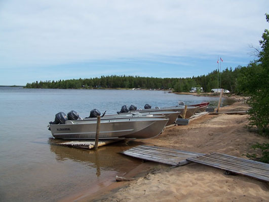Boat landing at Tate Island Lodge.