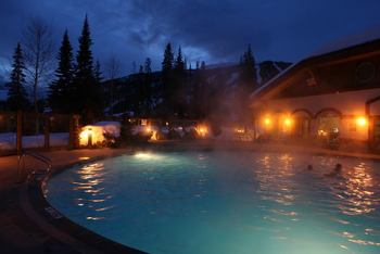 Heated outdoor pool at Cahilty Lodge.