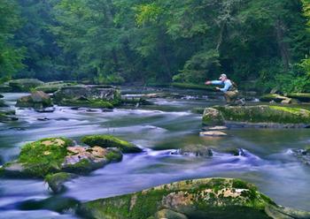 Fishing at Brigadoon Lodge.