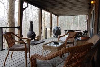 Porch view at Fox Glove Lodge.