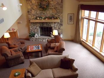 Guest living room at Waterbury Inn Condominium Resort.
