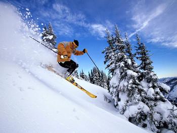 Skiing near Whispering Woods Resort.
