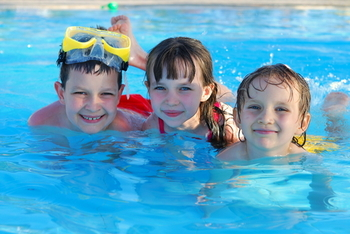 Kids swimming at Winter Clove Inn.
