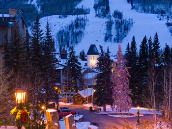 Holiday lights at Vail's Mountain Haus.