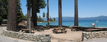 Picnic area at Meeks Bay Resort & Marina.