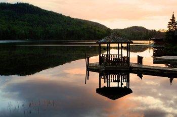 Lake sunset at Big Moose Inn.