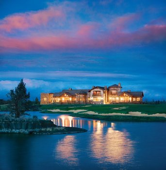 Exterior evening view of Pronghorn Resort.