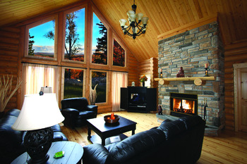 Cabin living room at Fiddler Lake Resort.