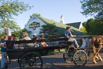 Wagon rides at Mill Falls at the Lake.