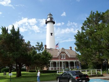 View of Saint Simons Lighthouse at Real Escapes Properties.