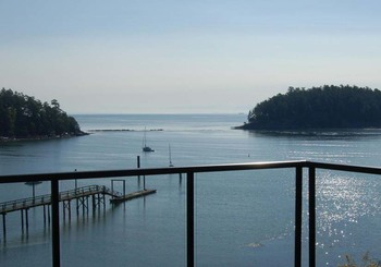 Balcony view at Mayne Island Resort and Spa.
