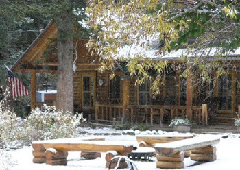 Fire Pit and Cabin at Shoshone Lodge & Ranch