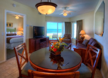 Guest room interior at Sunset Vistas.