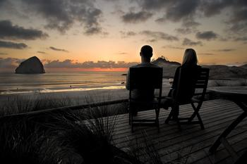 Relaxing by the beach at Shorepine Vacation Rentals.