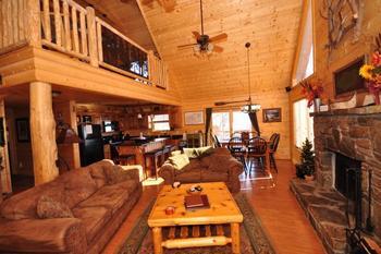 Rental living room at Rumbling Bald Resort.