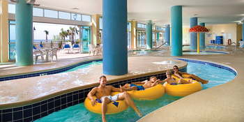 Relaxing in the lazy river at Bay View Resort.