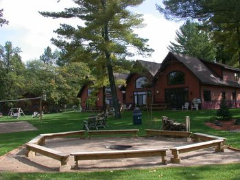 Community fire pit at Good Ol' Days Resort.