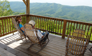 Relaxing on deck at House Mountain Inn.