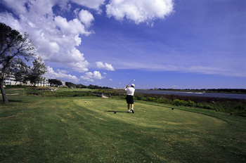 Playing golf at Ocean Isle Inn.