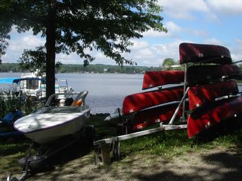 Boats at Edinboro Lake Resort.