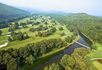 Aerial view of golf course at The Shawnee Inn and Golf Resort.