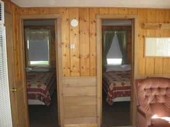Cabin bedrooms at Wil-O-Wood Resort.