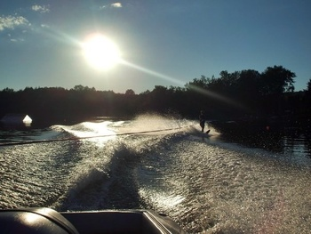 Water skiing at Snowy Owl Cabins.