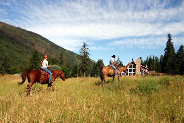 Horseback riding at Tod Mountain Ranch.
