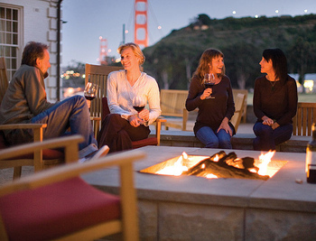 The fire pit at Cavallo Point Lodge.