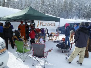 Tailgate party at Pronghorn Resort.