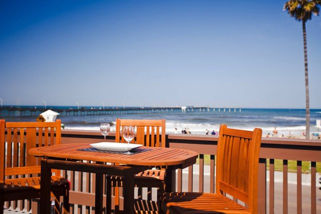 Patio view at Ocean Beach Hotel.
