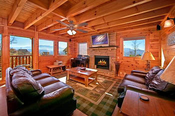 Cabin living room at SmokyMountains.com.
