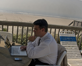 Working on the balcony at Ocean Isle Inn.