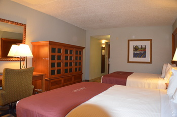 Two bed guest room at Ambers Resort and Conference Center.