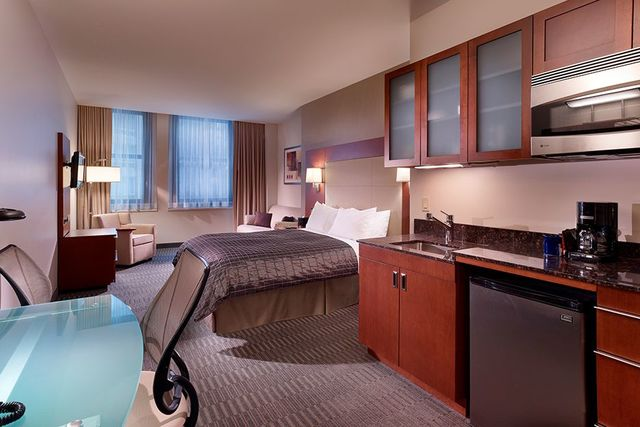 Guest room at Chicago River Hotel.