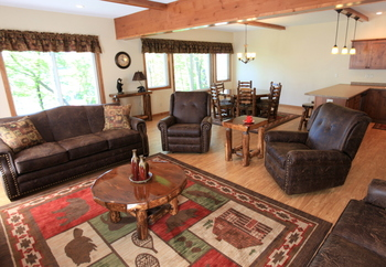 Luxury Lake Home rental living room at East Silent Resort.