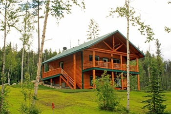 Deluxe cabin exterior at Glacier Outdoor Center.