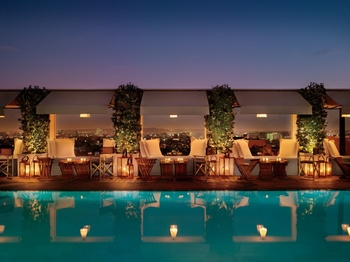 Outdoor pool at Mondrian Los Angeles.